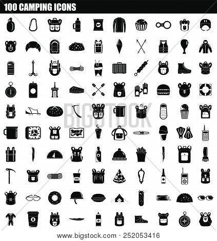 100 Camping Icon Set. Simple Set Of 100 Camping Vector Icons For Web Design Isolated On White Backgr