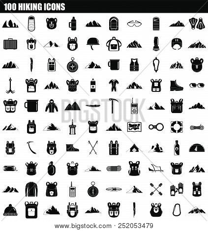 100 Hiking Icon Set. Simple Set Of 100 Hiking Vector Icons For Web Design Isolated On White Backgrou