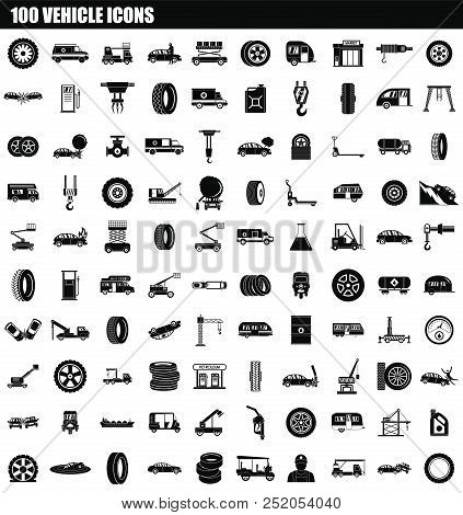 100 Vehicle Icon Set. Simple Set Of 100 Vehicle Vector Icons For Web Design Isolated On White Backgr