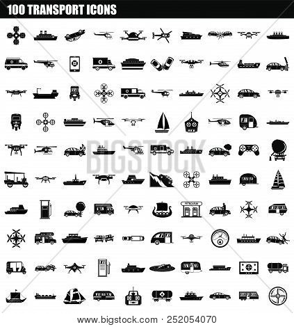 100 Transport Icon Set. Simple Set Of 100 Transport Vector Icons For Web Design Isolated On White Ba