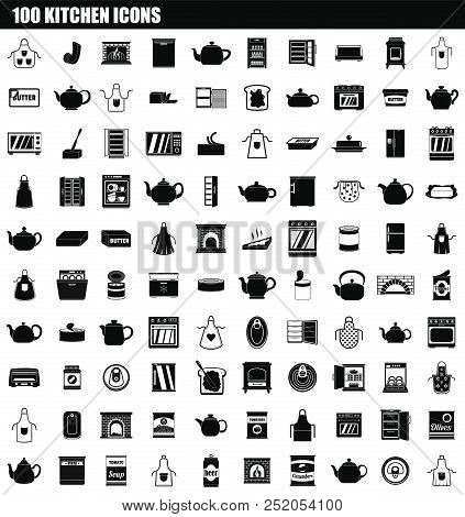 100 Kitchen Icon Set. Simple Set Of 100 Kitchen Vector Icons For Web Design Isolated On White Backgr