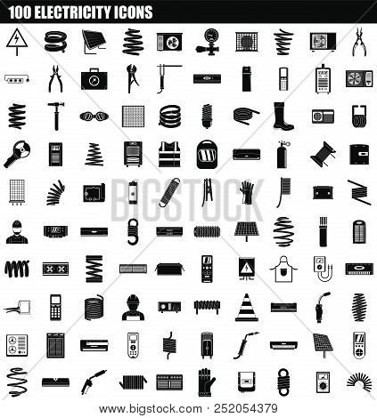 100 Electricity Icon Set. Simple Set Of 100 Electricity Vector Icons For Web Design Isolated On Whit
