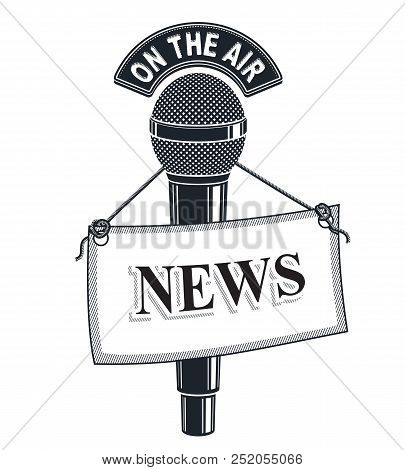3d Microphone Vector Symbol Isolated On White With News Tag. Live Reportage Concept, On The Air.