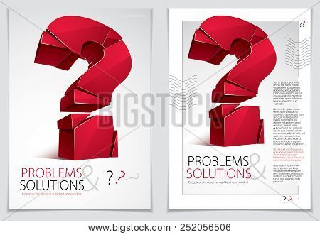 Broken Question Mark Exploding Brochure Or Flyer Design, Query Breaking To Pieces, Vector 3d Realist