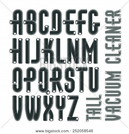 Set Of Trendy Condensed Tall Vector Capital Upper Case Alphabet Letters Abc Isolated Funky Font For Use As Business Poster Design Elements