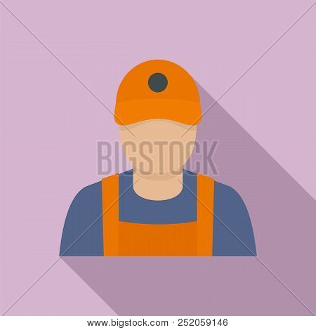 Petrol Station Man Icon. Flat Illustration Of Petrol Station Man Vector Icon For Web Design