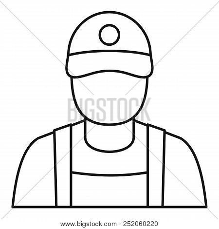 Petrol Station Man Icon. Outline Petrol Station Man Vector Icon For Web Design Isolated On White Bac