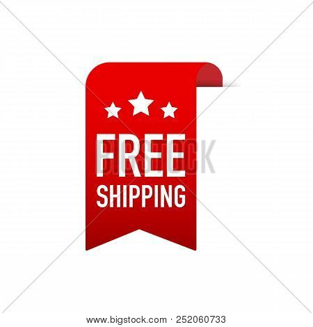 Free Shipping Red Label Icon Vector Design. Vector Stock Illustration.