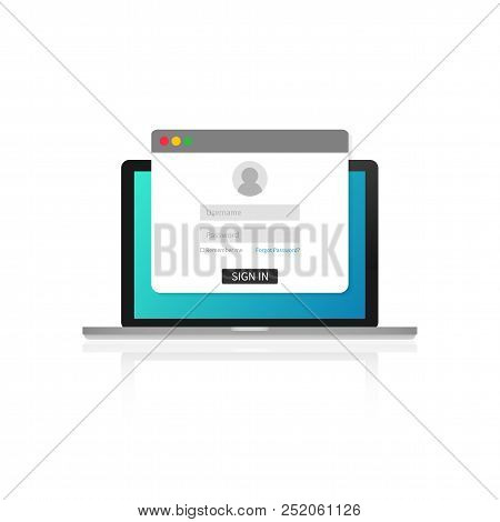 Login Page On Laptop Screen. Notebook And Online Login Form, Sign In Page. User Profile, Access To A