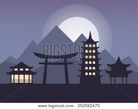 Japanese Landscape With A Torii Gate In Flat Style. Landscape Of Japan. Vector Stock.