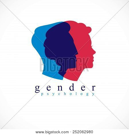 Gender Psychology Concept Created With Man And Woman Heads Profiles, Vector Logo Or Symbol Of Relati