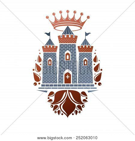 Heraldic Vector Design Element. Retro Style Label, Heraldry Illustration. Antique Bastion Logotype O