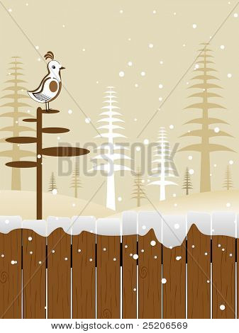abstract a cute bird sitting on stand with christmas trees background