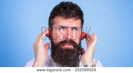Summer Top Radio Chart. Man Bearded Hipster Red Ripe Strawberry Ears As Headphones. Summer Hit Conce
