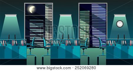 Flat Vector Illustration Of Modern Office Room Interior With Large Windows In Skyscraper With Tables