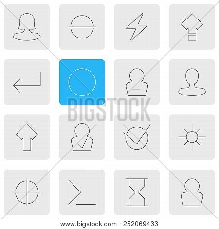 Vector Illustration Of 16 User Icons Line Style. Editable Set Of Woman Member, Enter, Confirmed Memb