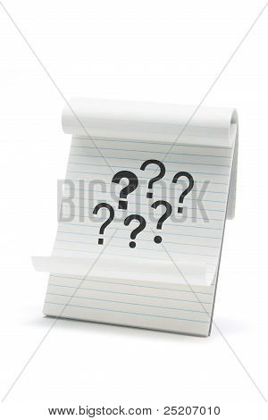 Note Pad with Question Marks on White Background poster