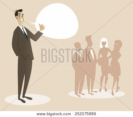 Business Man Dressed In 50's Or 60's Clothes Proud Of His Team. Cartoon Style. Vector Illustration.