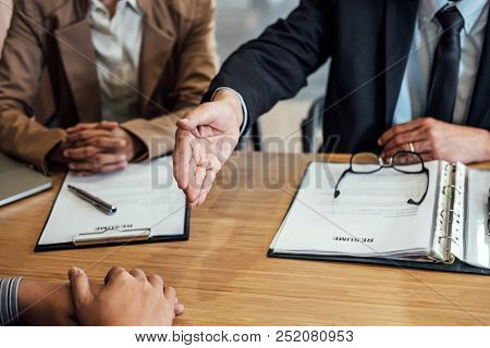 Welcome To Colleagues, Two Senior Manager Shaking Hands After During Job Interview, Interview The Jo