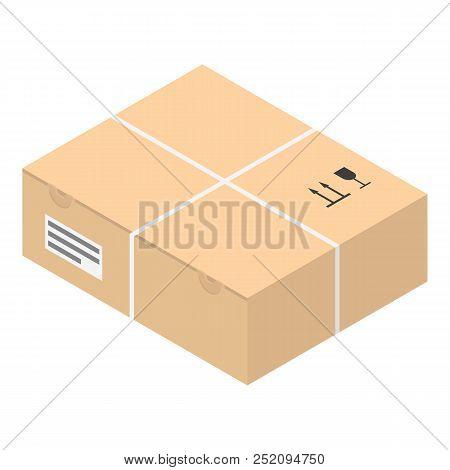Carton Box Icon, Isometric Style Illustration Web