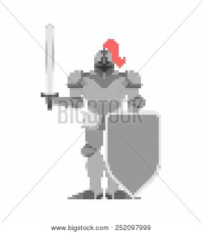 Knight Pixel Art. Metal Armor Warrior 8 Bit. Digital Iron Armor. Plate And Sword. Vector Illustratio
