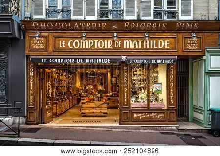 Bayeux, France - September 16 2017: Quaint, Picturesque Chocolaterie Or Chocolate Shop On Rue Saint-