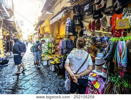 Sorrento, Italy - September 21 2017: Tourists Shop The Narrow Alleys And Streets Of Sorrento, Italy,