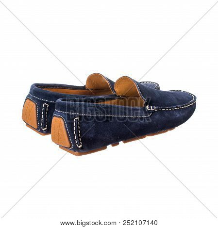 blue men's moccasins of suede unpolished leather isolated on white background poster