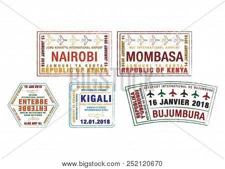 Set Of Stylised Passport Stamps For Major Airports Of Kenya, Uganda, Rwanda And Burundi  In Vector F
