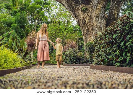 Mother and son Walking On A Textured Cobble Pavement, Reflexology. Pebble stones on the pavement for foot reflexology poster