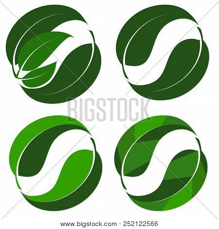 Abstract Logo From A Combination Of Green Leaves - Vector