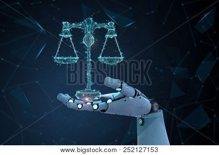 Internet Law Concept With 3d Rendering Ai Robot With Law Scale