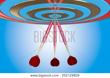 Two Three Red Darts Hitting The Bullseye Aim. Concept Of Success 3d Illustration