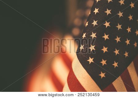 Vintage Flags United States Of America With Empty Space For Your Text On Left.