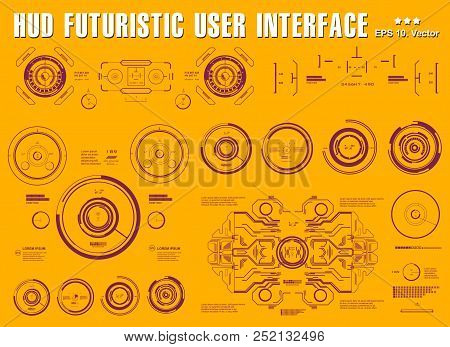 Futuristic Virtual Graphic Touch User Interface, Target, Hud Dashboard Display Virtual Reality Techn