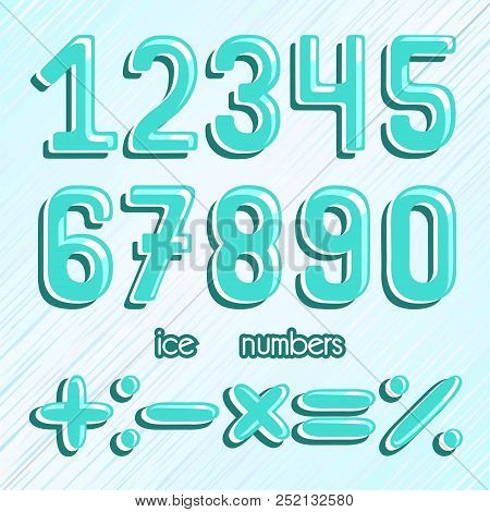 Numbers Set. Ice Numbers. Frozen Numbers. Vector Clipart.
