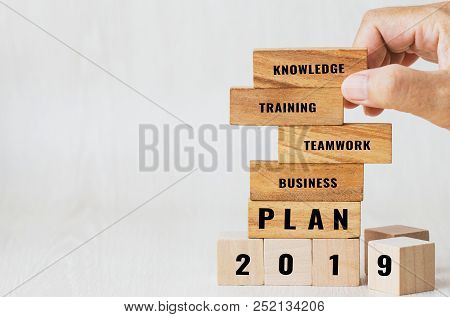 Ideas Planning 2019 For Strategy Plan Risk In Business Concept : Businessman Placing Wooden Blocks W