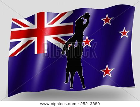 Country Flag Sport Icon Silhouette New Zealand Rugby Lineout