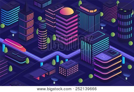 Smart city in a futuristic style, a city of the future. Business center, housing urban buildings with skyscrapers, modern urban transport skyway, data transmission technologies throughout the city. poster
