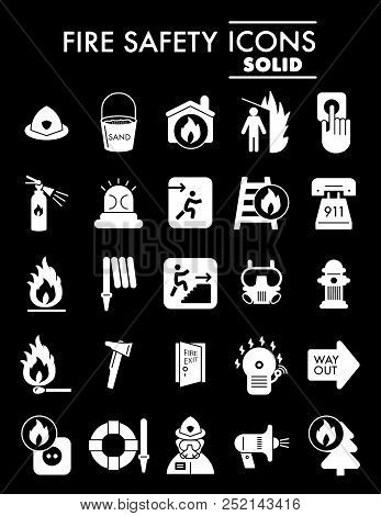 Fire Safety Glyph Icon Set, Emergency Symbols Collection, Vector Sketches, Logo Illustrations, Alarm