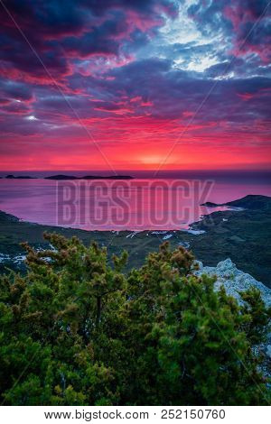 Amazing red and purple sunset in Australia, Mount Bishop in Wilsons prom poster