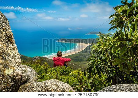 Sitting on top of the mountains in Wilsons prom poster