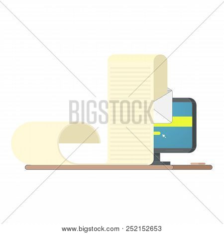 Electronic Document On Computer Vector Illustration, Flat Cartoon Long Big Paper Doc On E-mail Envel
