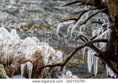 The Loch Lake at autumn. Icicles on trees and grass created by wind and water. Rocky Mountain National Park in Colorado, USA.