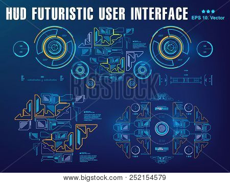 Hud Blue Interface Dashboard, Virtual Reality Interface, Futuristic Virtual Graphic Touch User Inter