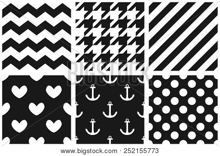 Tile Vector Pattern Set With Chevron, Zig Zag, Polka Dots, Sailor, Hearts And Stripe Background
