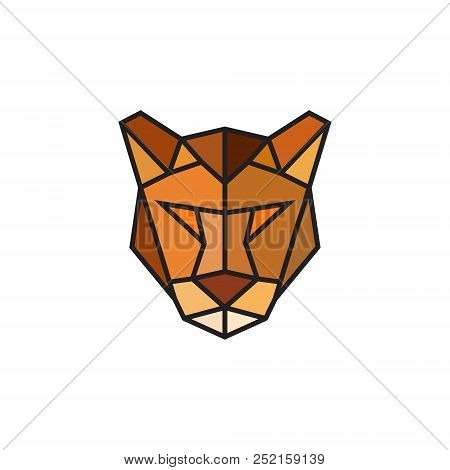 Polygonal Puma Emblem Isolated On White Background. Design Template For Business. Colorful Low Poly