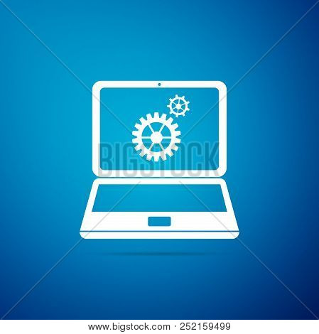Laptop And Gears Icon Isolated On Blue Background. Laptop Service Concept. Adjusting App, Setting Op