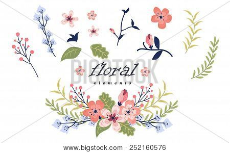 Vector Flat Illustration Collection, Set For Greeting Card Design With Stylish Text For Mother S Day