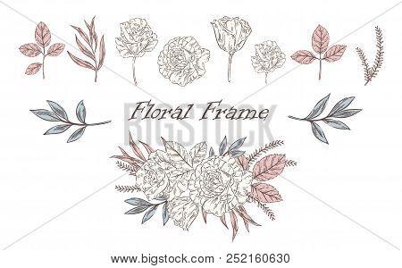 Vector Vintage Floral Set With Different Plants.